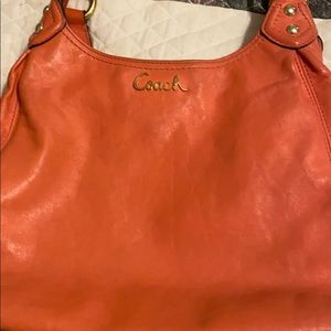 Authentic Coach shoulder bag in Coral- great shape
